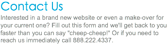 "Contact Us Interested in a brand new website or even a make-over for your current one? Fill out this form and we'll get back to you faster than you can say ""cheep-cheep!"" Or if you need to reach us immediately call 888.222.4337."